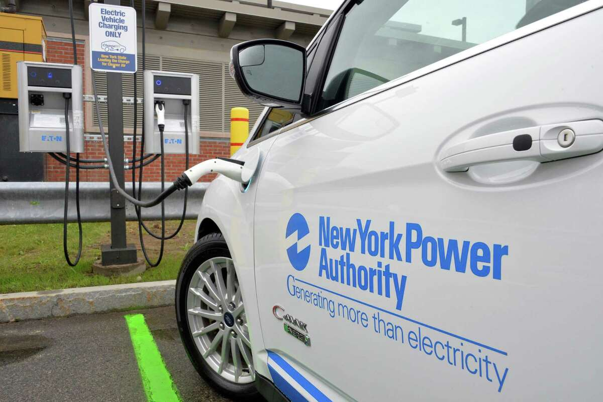 New electric vehicle charging stations at Albany International Airport's Long-Term parking lot Wednesday June 11, 2014, in Colonie, NY. (John Carl D'Annibale / Times Union)
