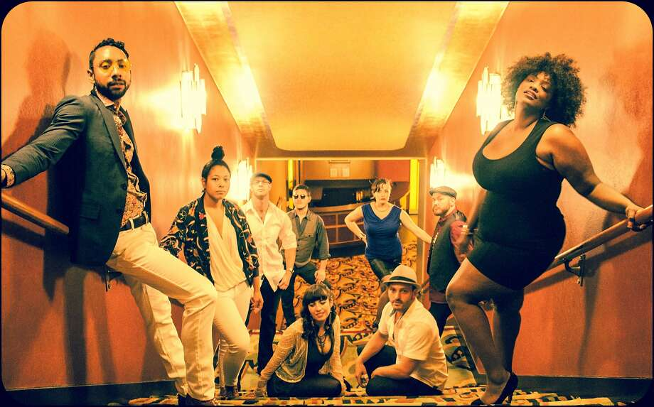 SoMa's retro-soul Midtown Social takes its beats per minute seriously. Standing: Aaron Joseph (left), Lydia Eyssallenne,  Brian Jones, Teddy Raven, Whitney Moses, R.J. Julia and Kisura Hendrix. Seated: Sarah Rice and Adam Rubinger. Photo:  Lauren Matley