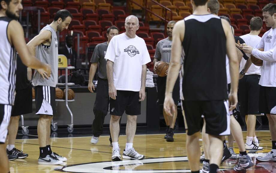 Spurs Head Coach Gregg Popovich oversees practice during practice and media sessions at the American Airlines Arena in Miami on Wednesday, June 11, 2014. (Kin Man Hui/San Antonio Express-News) Photo: San Antonio Express-News
