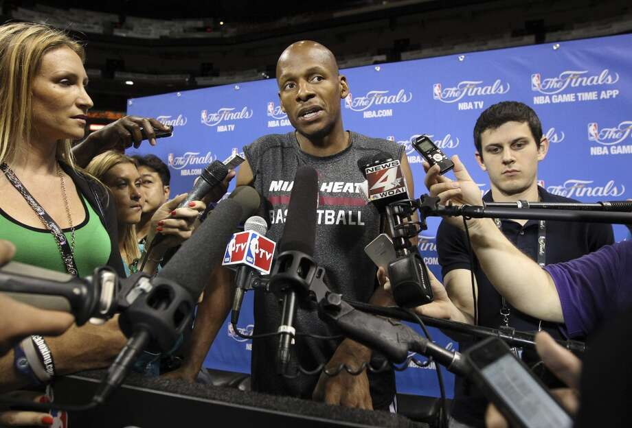 Miami Heat's Ray Allen (34) answers questions from the media during practice and media sessions at the American Airlines Arena in Miami on Wednesday, June 11, 2014. (Kin Man Hui/San Antonio Express-News) Photo: San Antonio Express-News