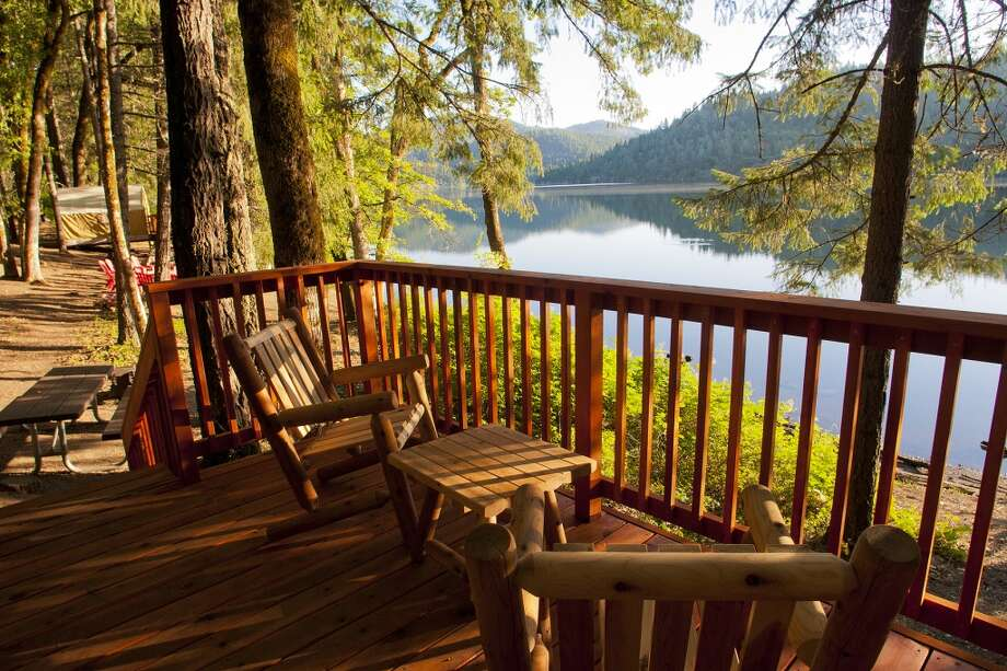 View from redwood deck at Cabin 3 at Mary Smith Campground, $65 a night Photo: John Poimiroo