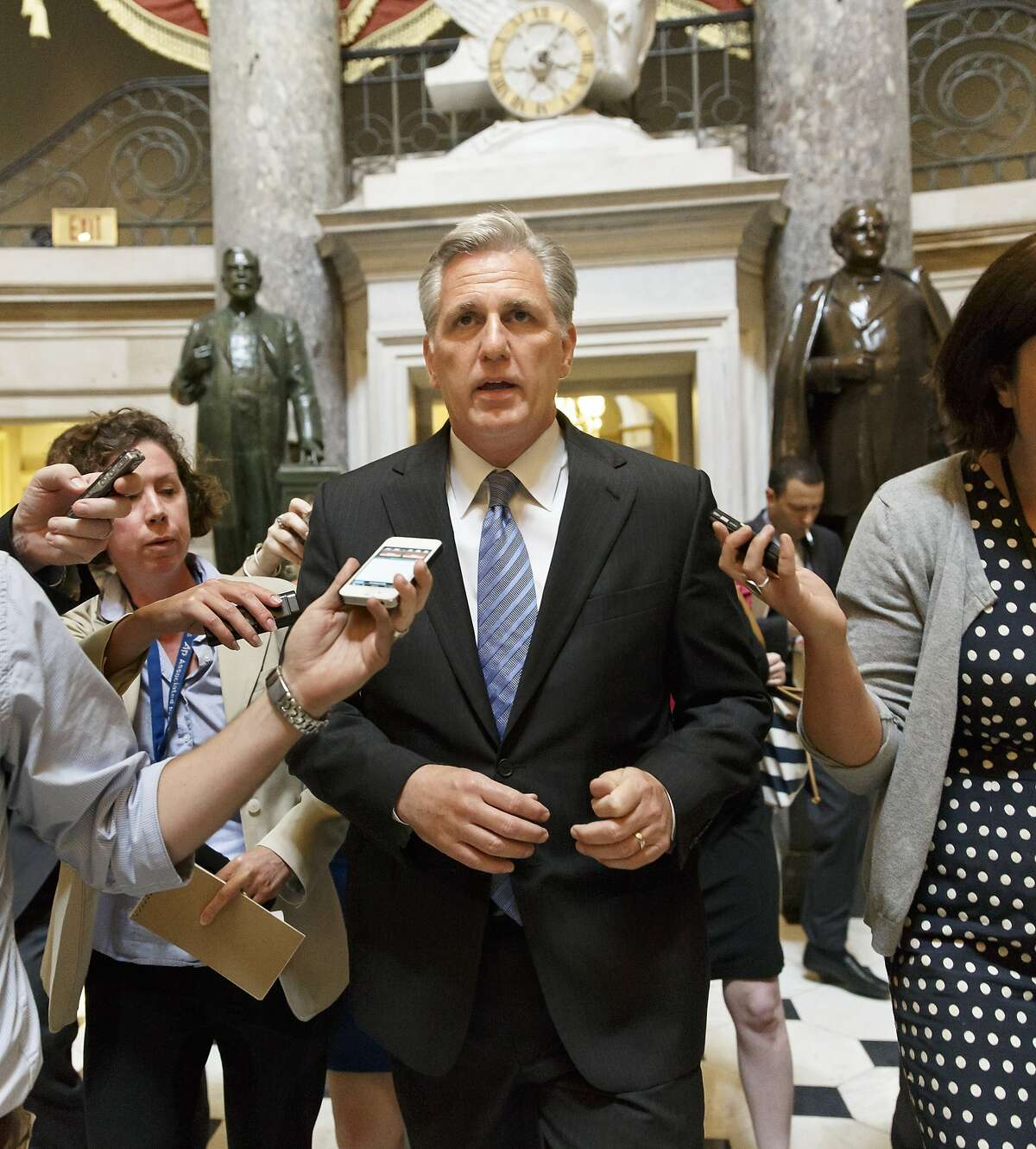 House Majority Whip Kevin McCarthy, R-Calif., leaves House Speaker John Boehner's office on the day after House Majority Leader Eric Cantor, R-Va., was defeated in the Virginia primary at the hands of a tea party challenger, at the Capitol in Washington, Wednesday, June 11, 2014. McCarthy, the third-ranking GOP leader, informed fellow Republicans he intended to run to succeed Cantor, officials said.