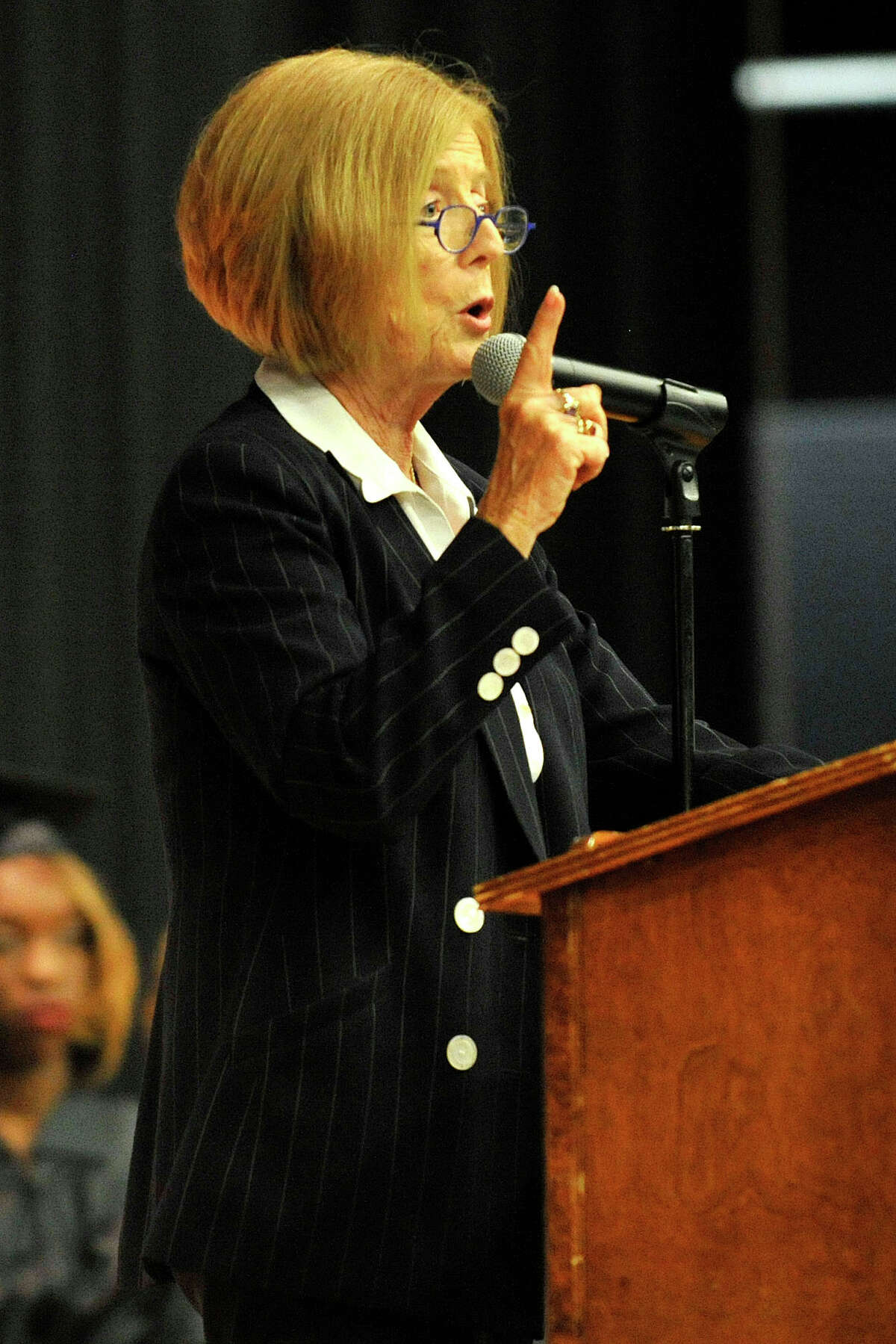 Dr. Winifred Hamilton, superintendent of Stamford Public Schools, speaks during the Stamford Public Schools Adult and Continuing Education graduation at Cloonan Middle School in Stamford, Conn., on Wednesday, June 11, 2014.