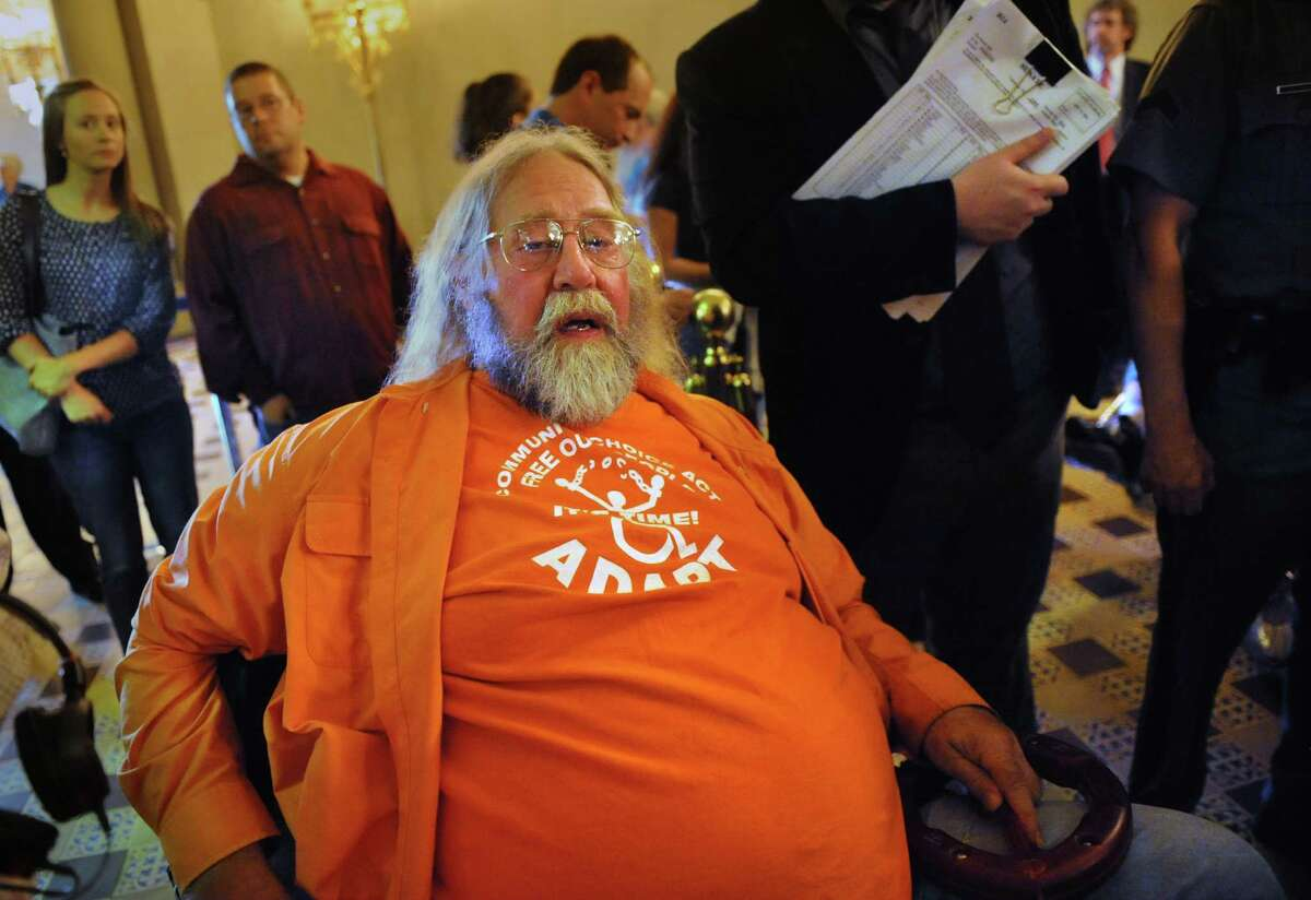 David Doktor of Phelps, New York was part of a group advocating to expand the range of home care options for the disabled Wednesday, June 11, 2014, during a demonstration outside the Assembly Chamber at the Capitol in Albany, N.Y. (Lori Van Buren / Times Union)