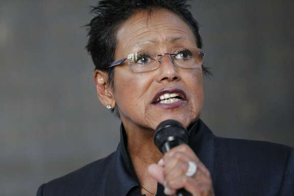Former Black Panther leader Elaine Brown makes a speech during a protest against an Oakland Planning Commission meeting for the West Oakland Specific Plan held at Oakland City Hall June 11, 2014 in Oakland, Calif.  The protest and march, organized by community members, Causa Justa and others, was in response to the plan, which protesters and community members feel will cause mass gentrification of West Oakland.