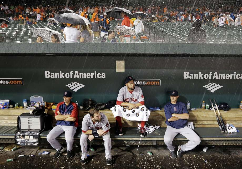 Members of the Boston Red Sox sit in the dugout during a rain delay in a baseball game against the Baltimore Orioles, Wednesday, June 11, 2014, in Baltimore. (AP Photo/Patrick Semansky) Photo: Patrick Semansky, Associated Press