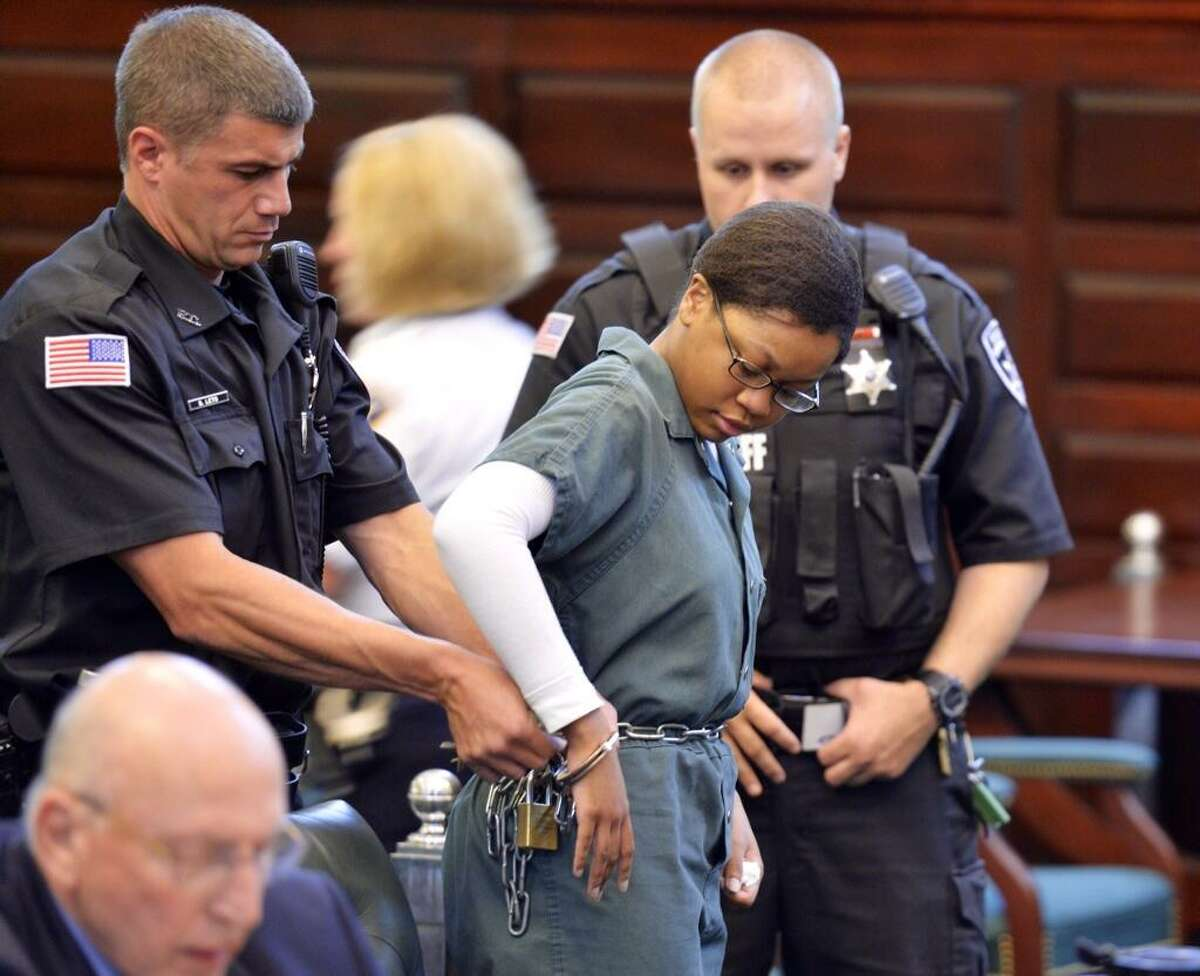 Trinity Copland awaits sentencing Thursday morning for killing her father, Harlan Copeland, in their Troy apartment. She shot her father in the head with a .22 caliber rifle in July 2012. (Skip Dickstein / Times Union)