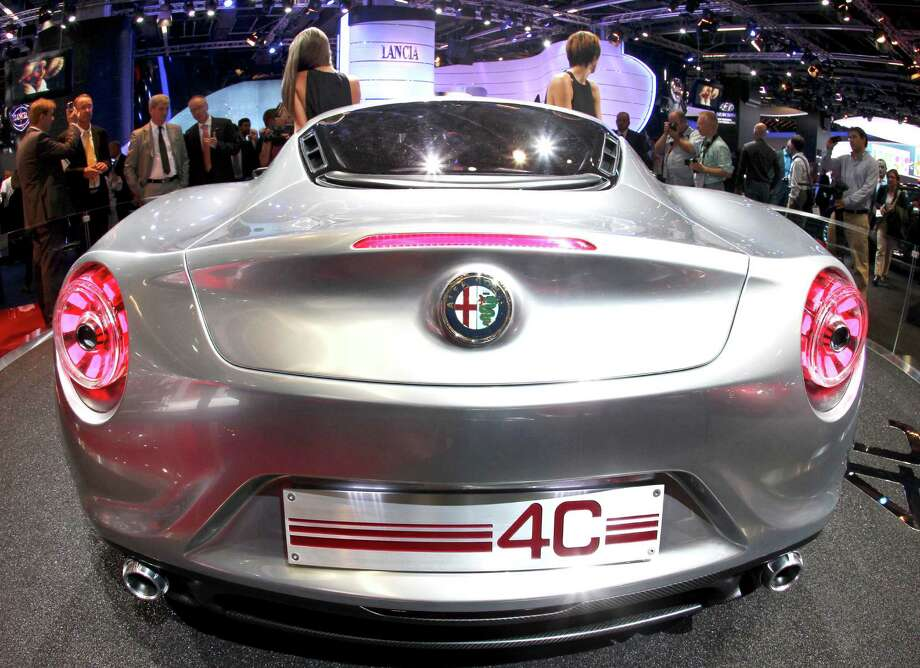The back of Alfa Romeo C4 concept car is photographed during the press day at the 64th Frankfurt Auto Show in Frankfurt, Germany.  Photo: Michael Probst, SAEN / AP
