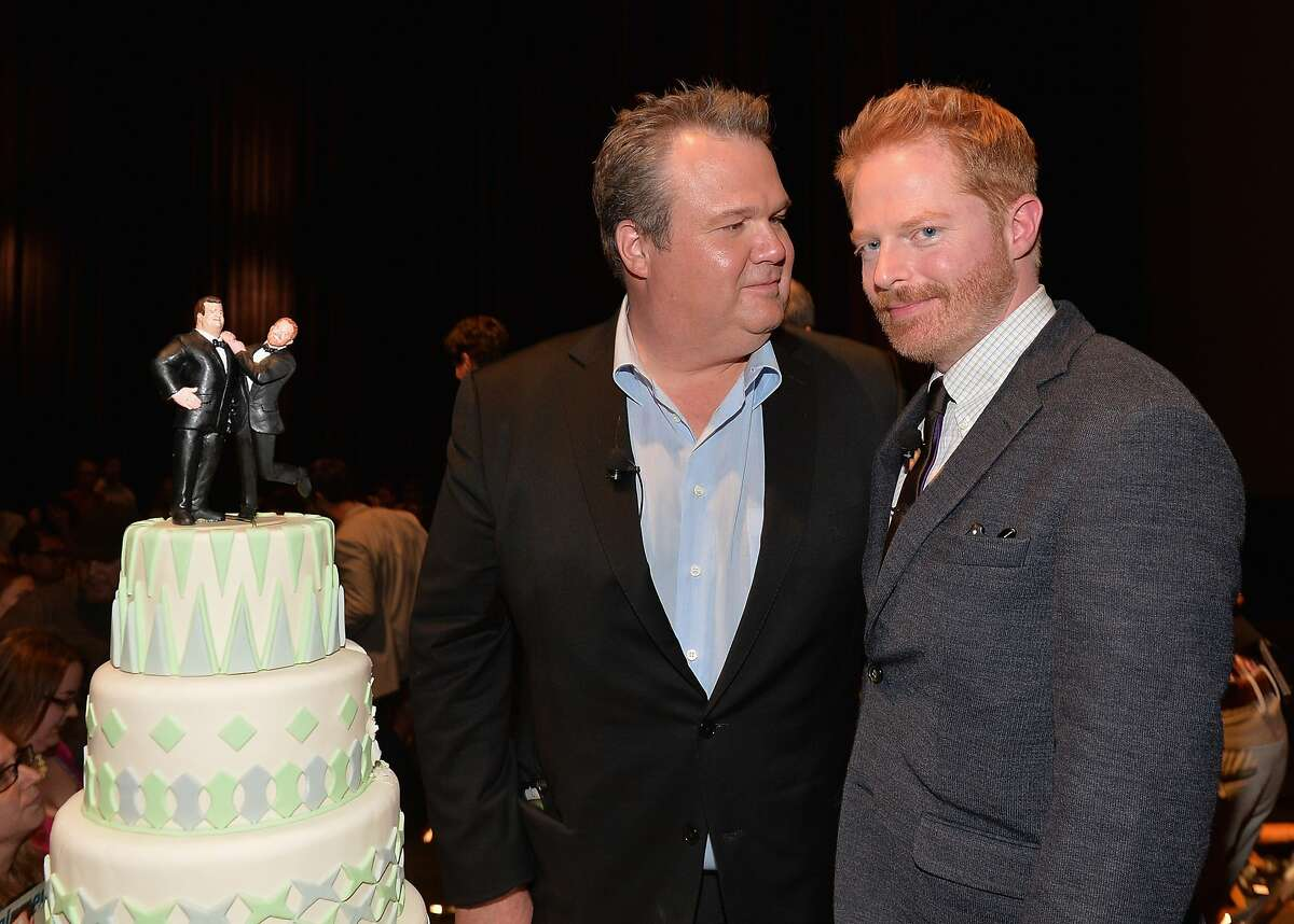 """LOS ANGELES, CA - MAY 19: Actors Eric Stonestreet and Jesse Tyler Ferguson attend a """"Modern Family"""" Wedding episode screening at Zanuck Theater at 20th Century Fox Lot on May 19, 2014 in Los Angeles, California. (Photo by Alberto E. Rodriguez/Getty Images)"""