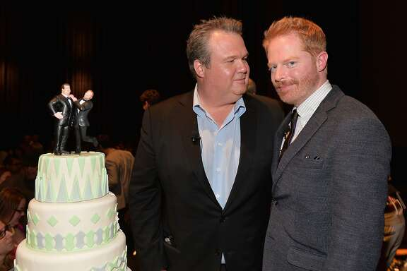 "LOS ANGELES, CA - MAY 19:  Actors Eric Stonestreet and Jesse Tyler Ferguson attend a ""Modern Family"" Wedding episode screening at Zanuck Theater at 20th Century Fox Lot on May 19, 2014 in Los Angeles, California.  (Photo by Alberto E. Rodriguez/Getty Images)"