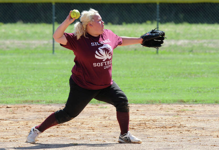 Beth Bird throws the ball during the All Star practice at Lumberton High School on Wednesday. Photo taken Wednesday, June 11, 2014 Guiseppe Barranco/@spotnewsshooter Photo: Guiseppe Barranco, Photo Editor