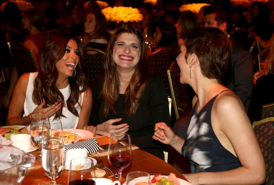 (L-R) Actresses Eva Longoria, Lake Bell and Maggie Gyllenhaal attend Women In Film 2014 Crystal + Lucy Awards presented by MaxMara, BMW, Perrier-Jouet and South Coast Plaza held at the Hyatt Regency Century Plaza on June 11, 2014 in Los Angeles, California. Photo: Christopher Polk, (Credit Too Long, See Caption)