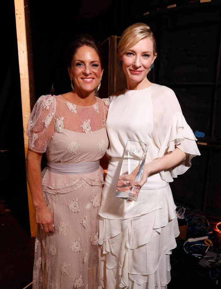 Women In Film President Cathy Schulman (L) and actress Cate Blanchett, Crystal Award for Excellence in Film award recipient, attend Women In Film 2014 Crystal + Lucy Awards presented by MaxMara, BMW, Perrier-Jouet and South Coast Plaza held at the Hyatt Regency Century Plaza on June 11, 2014 in Los Angeles, California. Photo: Christopher Polk, (Credit Too Long, See Caption)