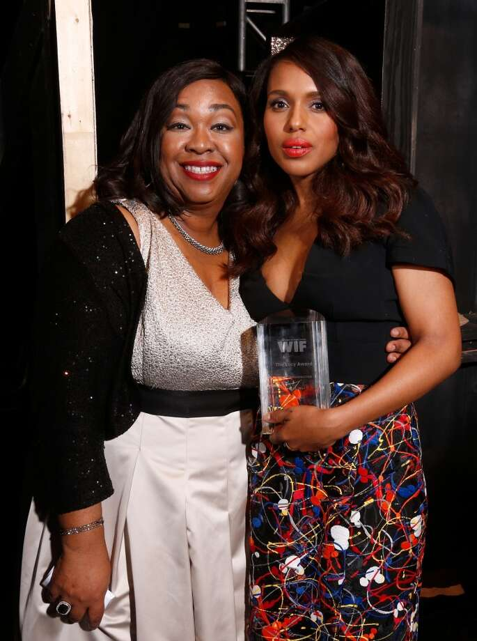 Writer/producer Shonda Rhimes (L) with actress Kerry Washington, Lucy Award for Excellence in Television recipient, attend Women In Film 2014 Crystal + Lucy Awards presented by MaxMara, BMW, Perrier-Jouet and South Coast Plaza held at the Hyatt Regency Century Plaza on June 11, 2014 in Los Angeles, California. Photo: Christopher Polk, (Credit Too Long, See Caption)