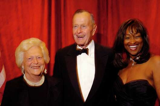 Barbara and President George Bush withTSU president Priscilla Slade at the TSU Black and White Gala in 2006. Photo: Dave Rossman, Freelance / Freelance