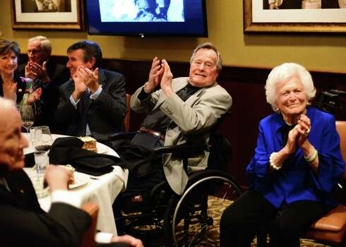 More than 100 friends and family members - and the Texas A&M Singing Cadets - gathered at the Palm Restaurant in April for an early celebration of former President George H.W. Bush's 90th birthday. Photo: Al Torres Photography / AL TORRES         PHOTOGRAPHY