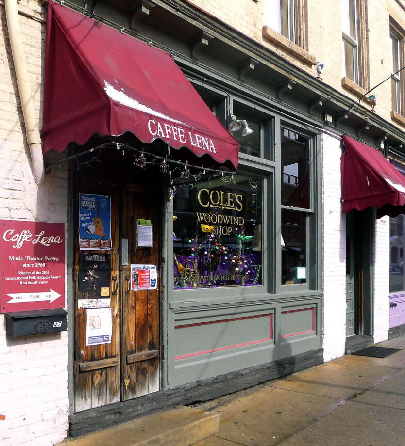 Caffe Lena and Cole's Woodwind Shop on Phila Street in Saratoga Springs