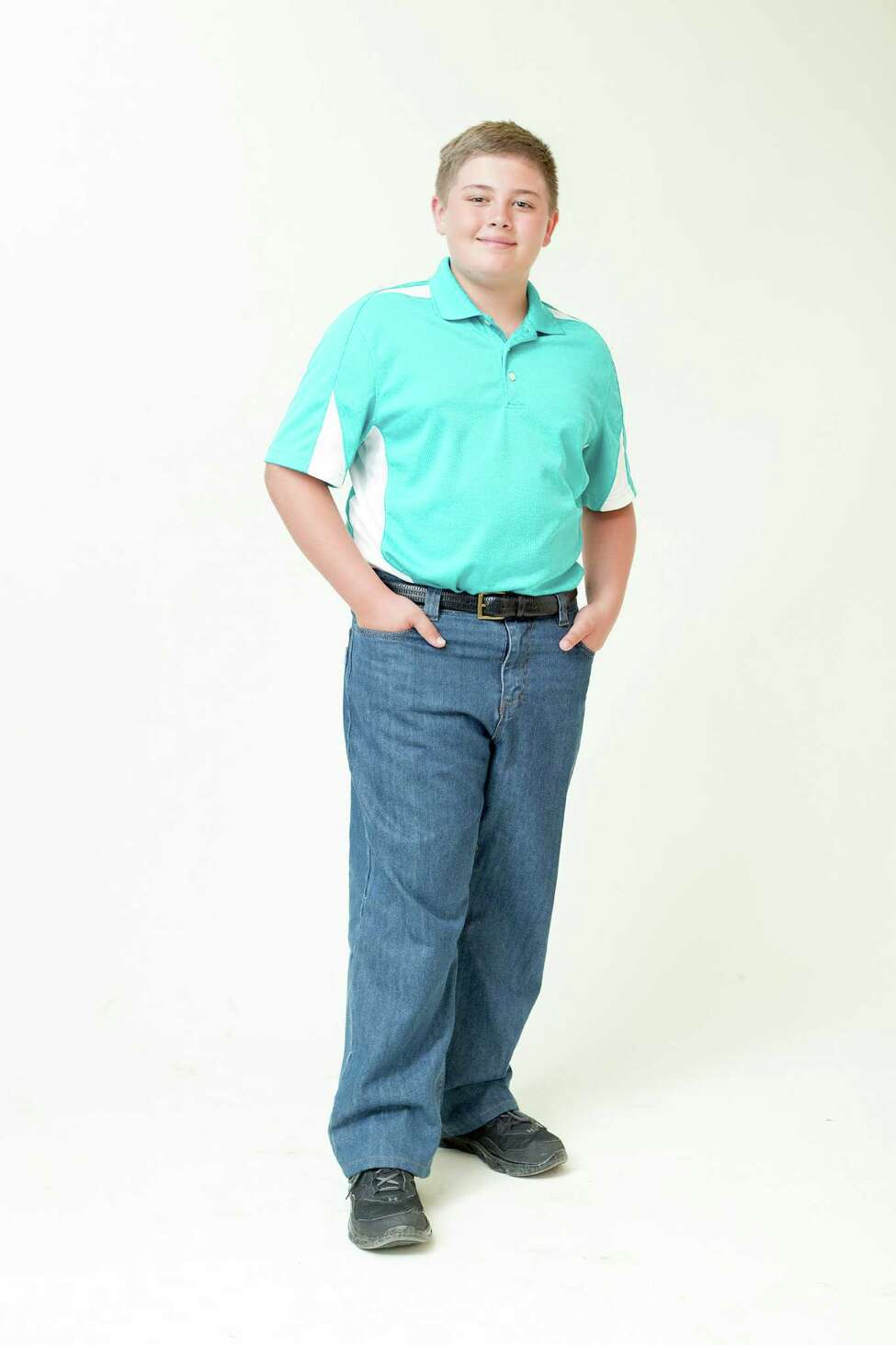 Alec Frazee, 11, displays Big Kidz Jeans on Thursday, June 6, 2014 in Albany, N.Y. Steve Frazee is the founder of Big Kidz Jeanz, a company he started because he had a hard time finding pants to fit his