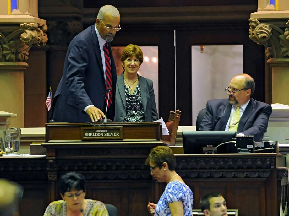 Albany Mayor Kathy Sheehan, center, visits the Assembly chamber at the Capitol Wednesday, June 11, 2014 in Albany, N.Y. (Lori Van Buren / Times Union) Photo: Lori Van Buren, Albany Times Union