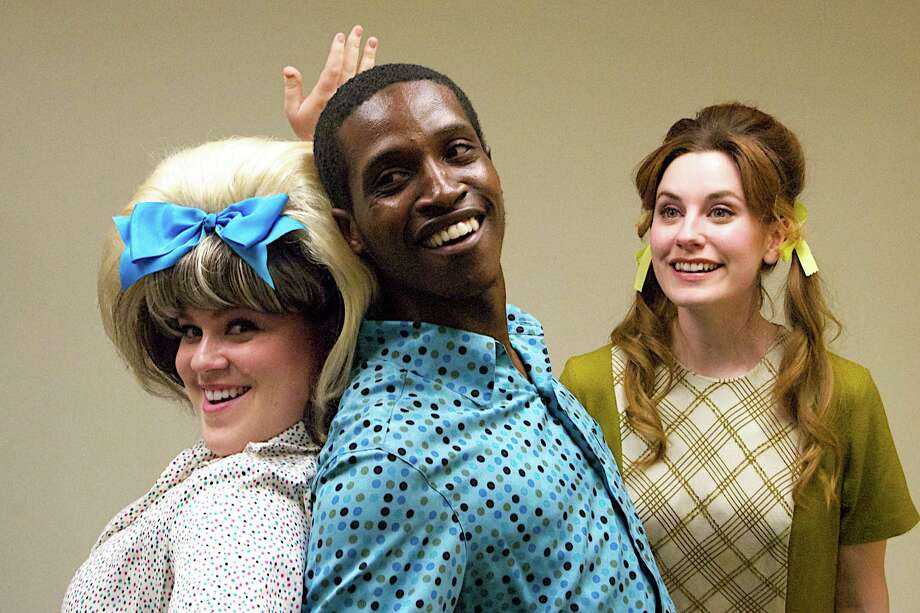 "(Left to right) Rebecca Spiegelman is Tracy Turnblad, De'Sean Dooley is Seaweed J. Stubbs, and Sharon Malone plays Penny Pingleton in the Summer Theatre of New Canaan production of the Broadway musical ""Hairspray"" running in Pinkney Park from June 21 through August 3. Photo: Contributed Photo / Connecticut Post Contributed"