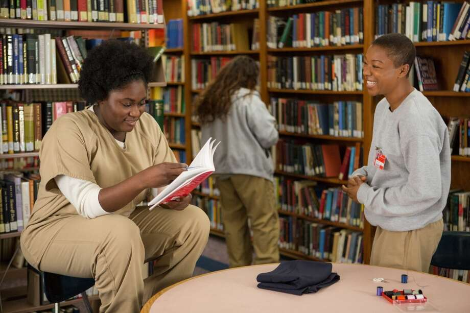 Danielle Brooks (left) and Samira Wiley in the library. Photo: Jessica Miglio