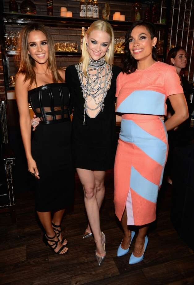 "(L-R) Actresses Jessica Alba, Jaime King and Rosario Dawson attend Spike TV's ""Guys Choice 2014"" at Sony Pictures Studios on June 7, 2014 in Culver City, California. Photo: Frazer Harrison, Getty Images For Spike TV"