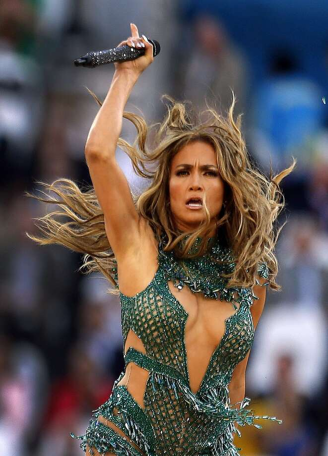 Glittering show, glittering star power - Jennifer Lopez performs at the opening ceremony of the World Cup. Photo: Frank Augstein, Associated Press