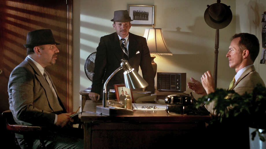"Left to right in a scene from ""The Reluctant Detective"" are Lou D'Amato of Danbury, as Fish; Bristol Pomeroy of New York City, as Bennett Stephens; and Gideon Fountain of Greenwich, as Detective Forbes. Photo: Contributed Photo / The News-Times Contributed"