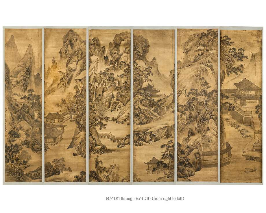 "Hua Yan's (1682-1756) gold-surfaced ink paintings, ""Summer Gatherings in Mountain Villas,"" are a set of 12 hanging scrolls. Photo: Asian Art Museum"