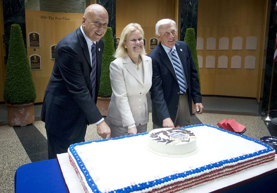 Cal Ripken Jr. (left), board chairman Jane Forbes Clark and Phil Niekro celebrate the Hall turning 75. Photo: Benjamin Patton, Associated Press