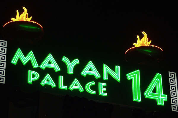 Sign for the Mayan Palace 14, the former Century Plaza 8, at I-35 and SW Military recently revamped by Santikos.
