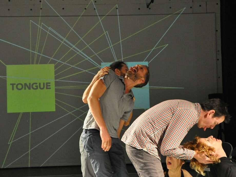 "James Graham (left), Ian Heisters, Sheldon B. Smith and Lisa Wymore improvise in Disappearing Acts' ""Number Zero"" at CounterPulse. Photo: Diana Sue Kaljian"