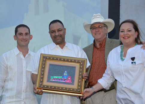 OTS: Jeff de Rojas, from left, Theo Guidry, Rick Grinnan and Heather de Rojas at Los Compadres  Make It Your Mission  Celebration at Mission San Juan Capistrano. Photo: Courtesy