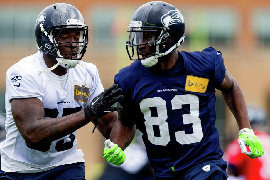 Ricardo Lockette, right, run drills with other Seahawks players on the ninth and final day of Organized Team Activities Thursday, June 12, 2014, at the Virginia Mason Athletic Center in Renton, Wash. Photo: JORDAN STEAD, SEATTLEPI.COM / SEATTLEPI.COM
