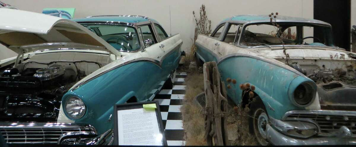 A display at the Classic Car Collection in Kearney, Neb., contrasts the restored car with a project waiting for some TLC.