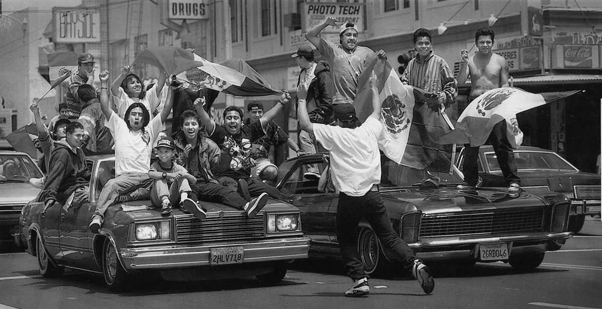 World Cup 1994 Fans celebrate on Mission Street after Mexico beat Ireland. Some World Cup games were played at Stanford stadium