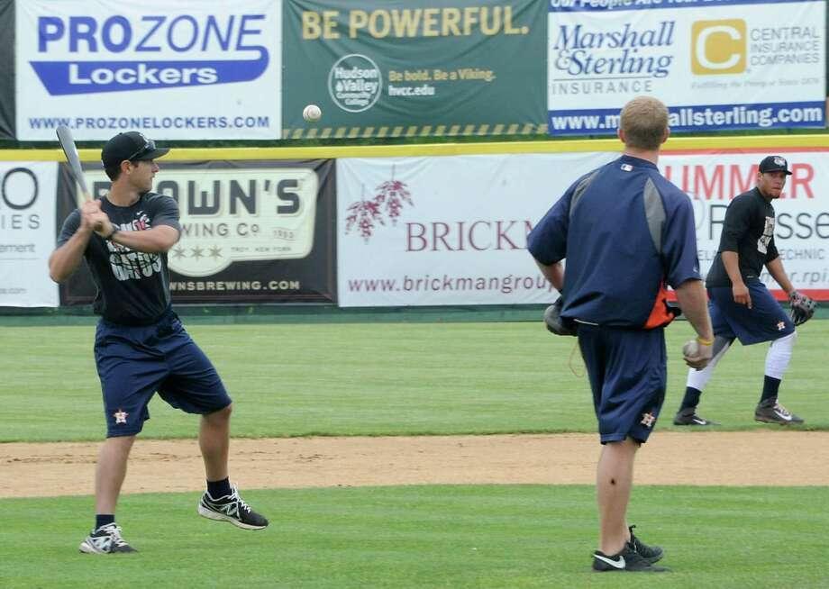 The Tri-City ValleyCats baseball team practices for the upcoming season-opener at the Joe Bruno Stadium on Thursday June 12, 2014 in Troy, N.Y.  (Lori Van Buren / Times Union) Photo: Lori Van Buren / 00027340A