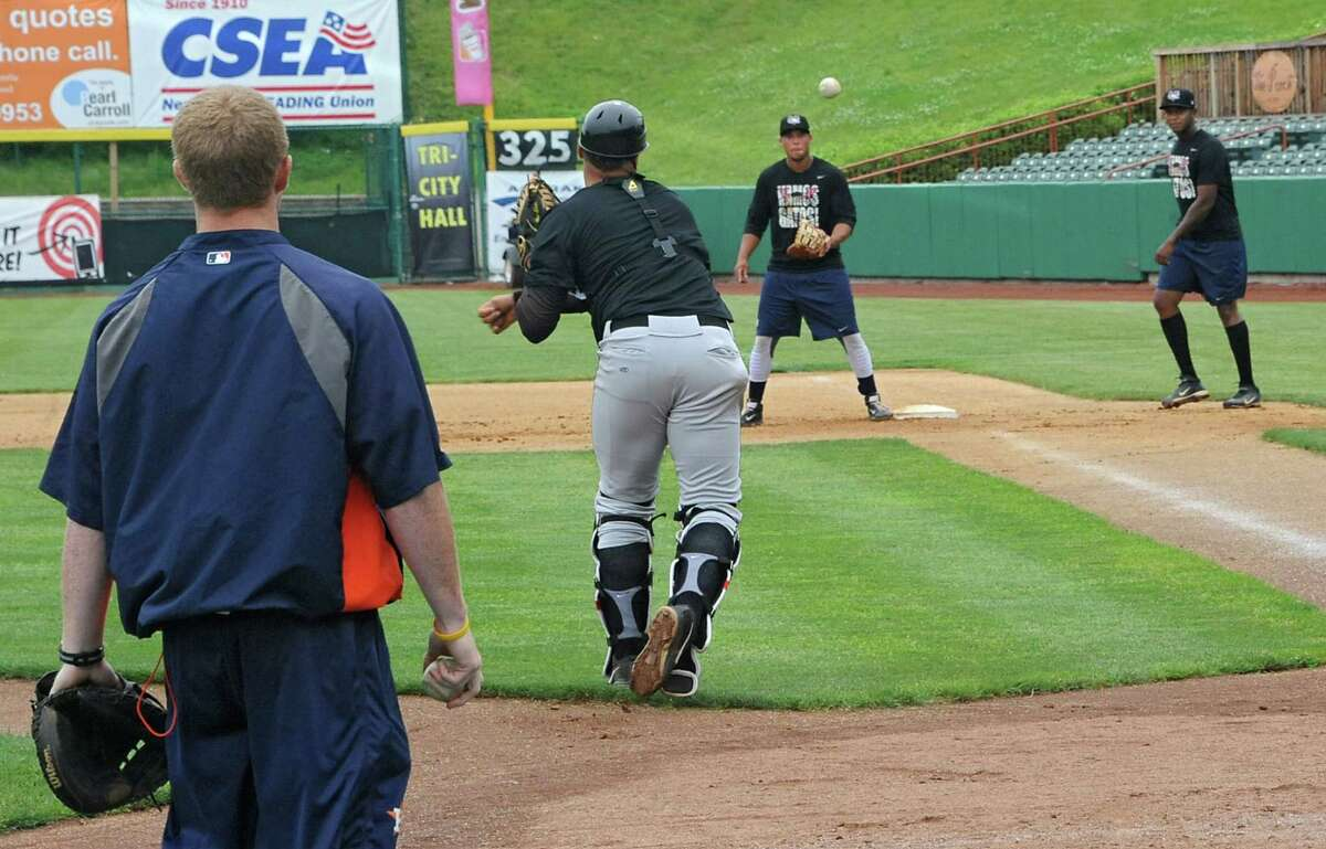 The Tri-City ValleyCats baseball team practices for the upcoming season-opener at the Joe Bruno Stadium on Thursday June 12, 2014 in Troy, N.Y. (Lori Van Buren / Times Union)