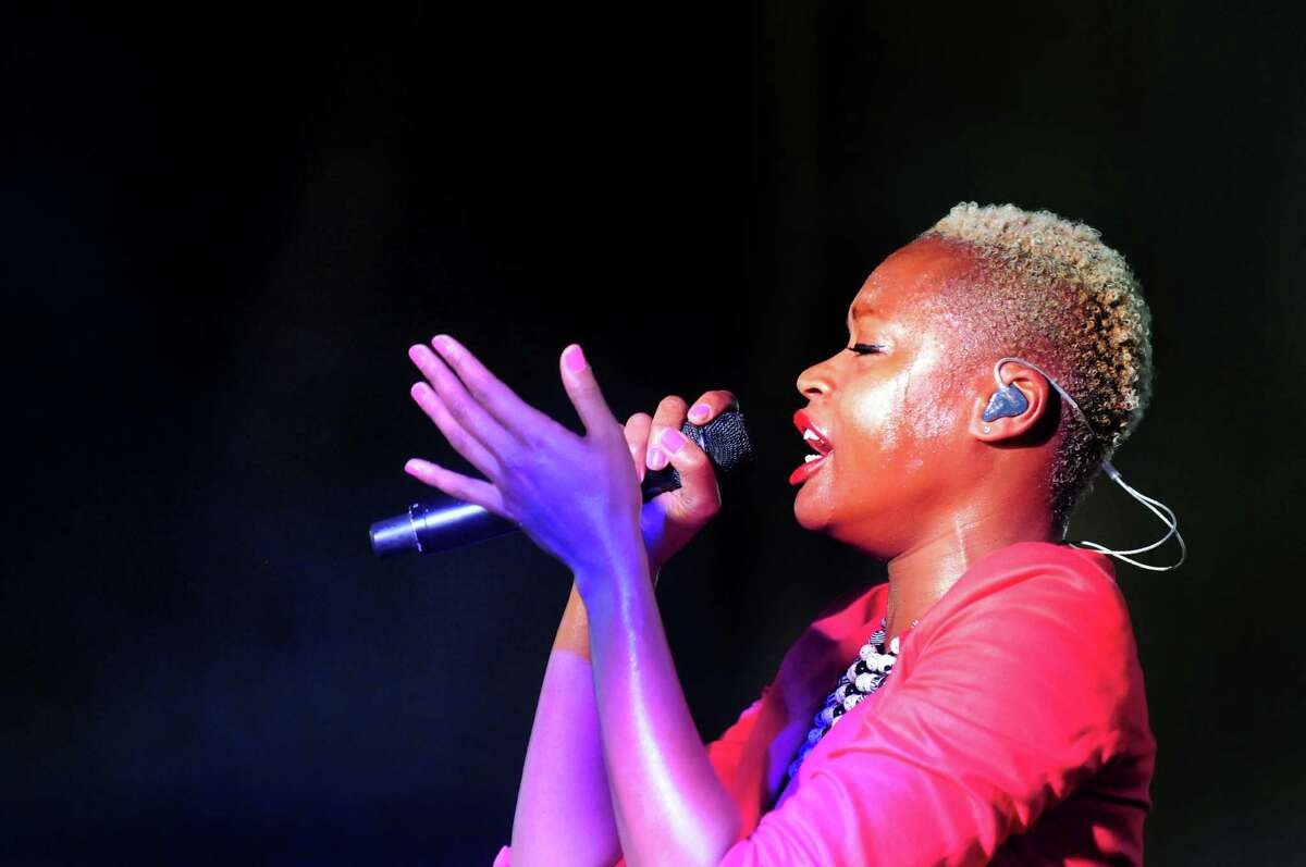 Noelle Scaggs sings with Fitz and the Tantrums during Alive at Five on Thursday, June 12, 2014, at the Corning Preserve Boat Launch in Albany, N.Y. (Cindy Schultz / Times Union)