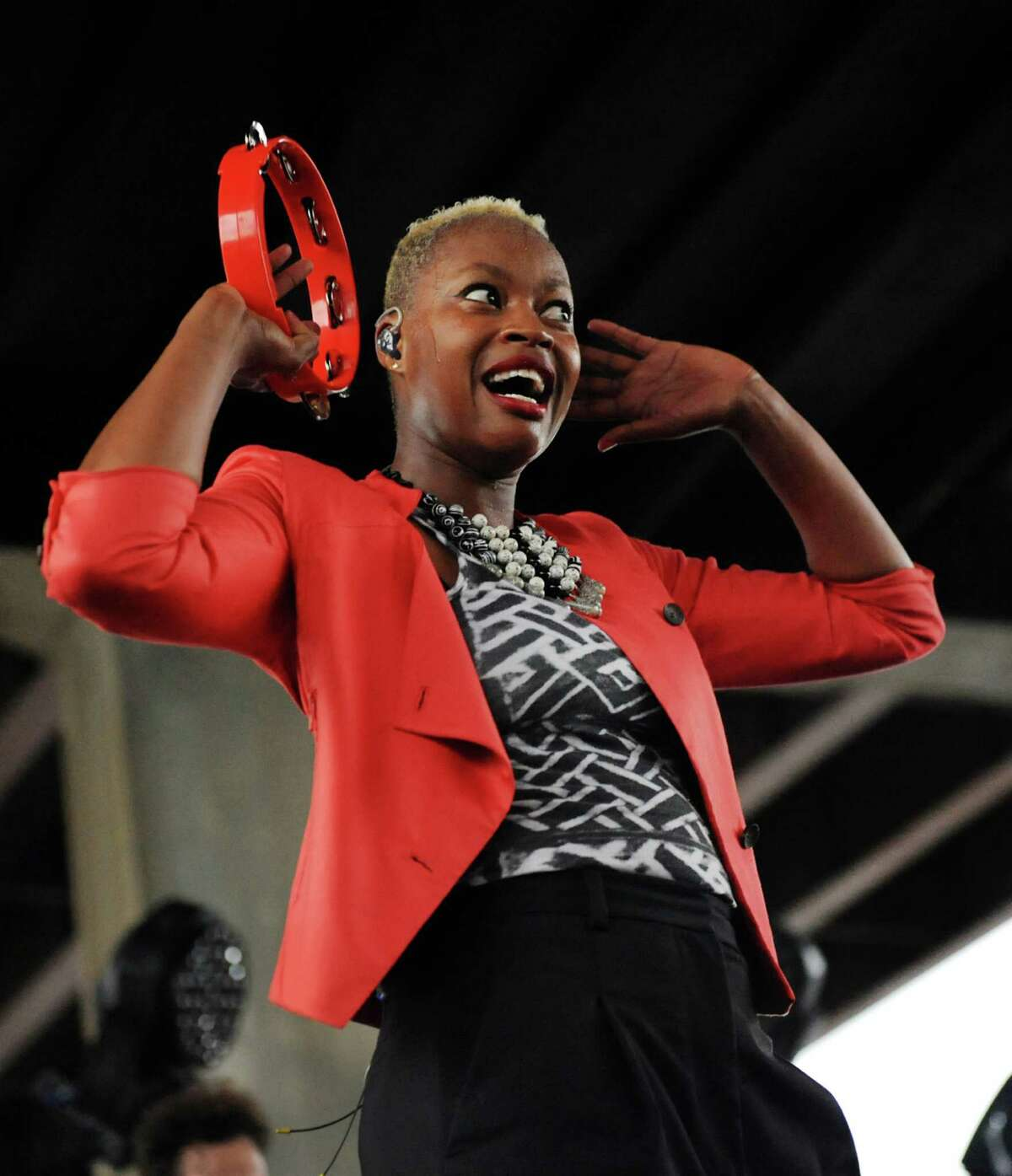 Singer Noelle Scaggs encourages the fans to cheer as Fitz and the Tantrums performs during Alive at Five on Thursday, June 12, 2014, at the Corning Preserve Boat Launch in Albany, N.Y. (Cindy Schultz / Times Union)