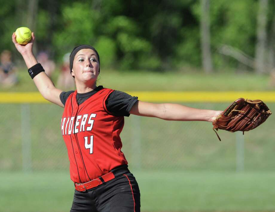 Mechanicville's Kirstyn Alonzo pitches during their girl's high school softball Class B state quarterfinal against Saranac on Thursday June 5, 2014 in Malta, N.Y. (Michael P. Farrell/Times Union) Photo: Michael P. Farrell / 00027213A