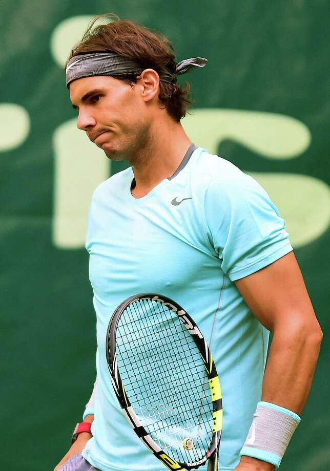 French Open champion Rafael Nadal lost to 85th-ranked Dustin Brown at the Gerry Weber Open on Thursday. Photo: Christian Weische, SUB / dpa