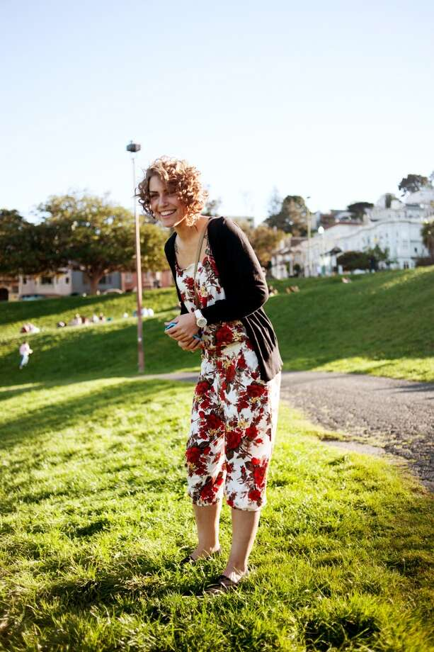Tatiana Lachajczak's floral thrifted jumpsuit fit the weekend vibe spent at Dolores Park. See more #SFStyle at www.sfgate.com/sfstyle. Photo: William C. Rittenhouse