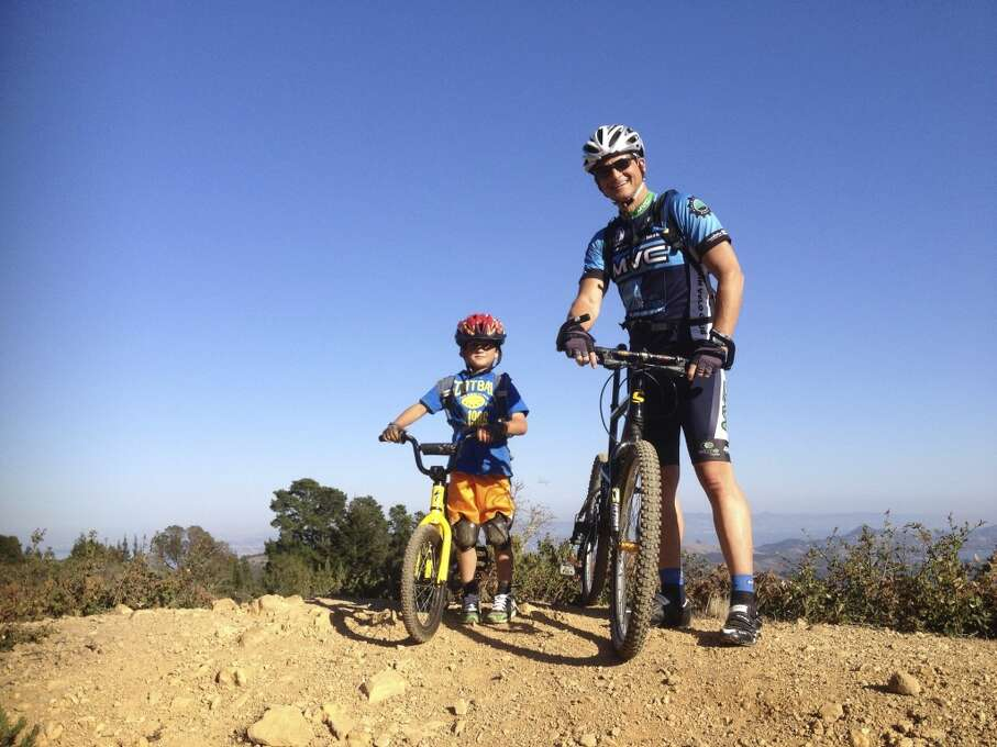 """""""Caden loves to mountain bike up Mount Tam, just like his Daddy."""" Photo: Submitted By Mark Marinozzi"""
