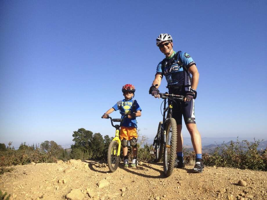 """Caden loves to mountain bike up Mount Tam, just like his Daddy."""