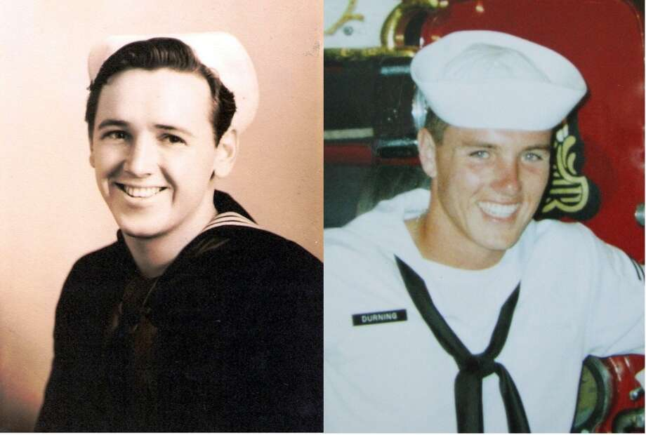 """My dad Mack Durning on the left in 1945. Me, Brent Durning, 1989. Both of us were 23 years old at the time of these pictures."""