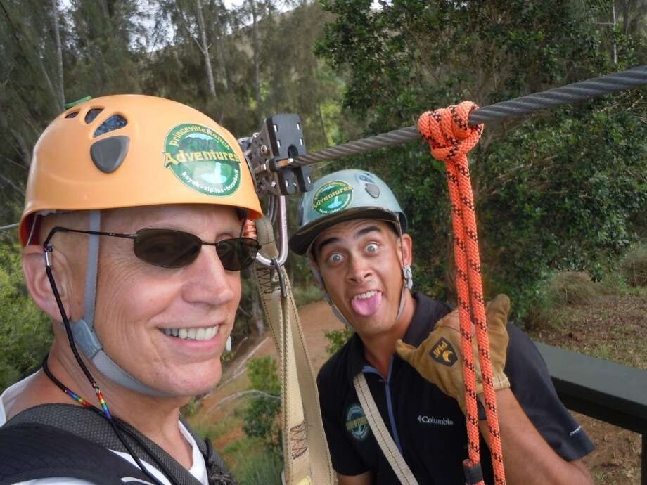 """At 63 and 27 years young, we both still share adventures ranging from zip-lining, where he works in Kauai, to full court basketball where I live in Humboldt County!"""