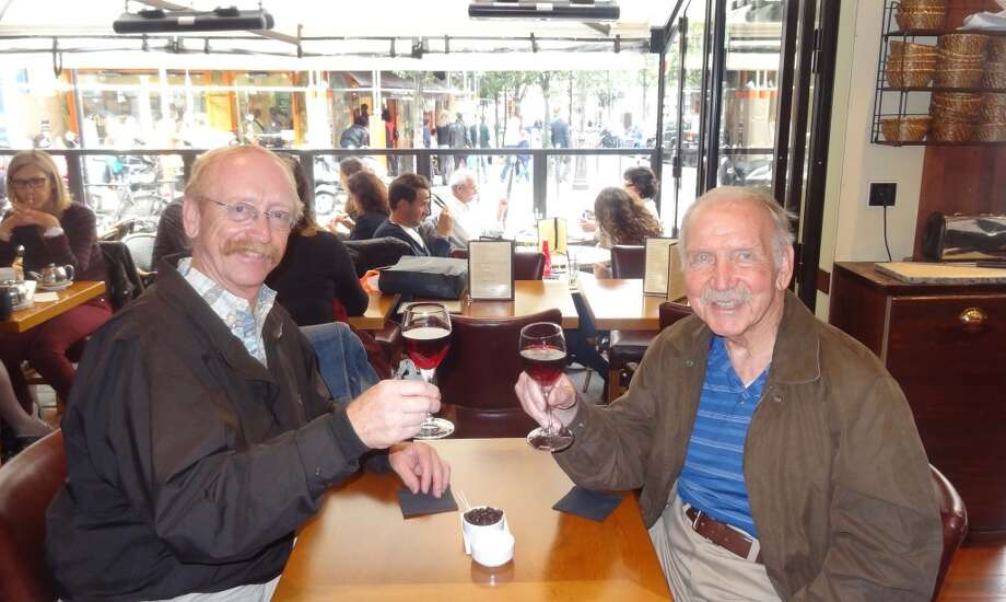 """""""Enjoying a glass of wine together in Paris."""" Photo: Submitted By Rodger Lindquist"""