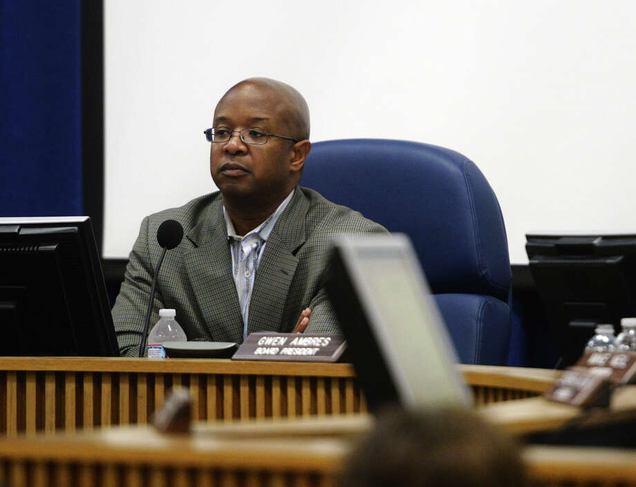 Superintendent Dr. Timothy Chargois looks out into the audience as people disagree with his comments regarding vice principals during Thursday evening's school board meeting. The Beaumont Independent School District school board met Thursday night to continue budget discussions as well as review their agenda.
