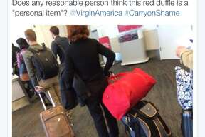 When posting photos or videos of oversized carry-ons, include the airline and airport, as well as the hashtag #CarryonShame